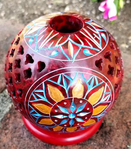 red sandstone incense holder topview