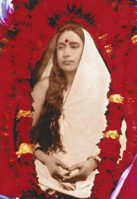 Holy Mother S1 Photo with Red Flowers